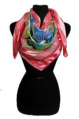 Hibiscus and Daisy Printed Silk Felt Twill Square Scarf