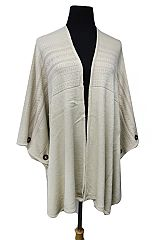 Aztec Minimalist Spandex Printed Wooden Decorative Button Open Poncho