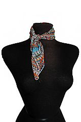 Geometric Abstract Pattern Printed Silk Felt Small Sized Twill Square Scarf