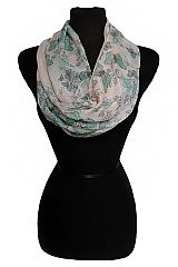Warm Colored Spring Butterfly and Floral Printed Semi Sheer Infinity Scarves