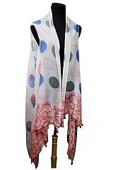 Oversized Fashion Colorful Polka Dot Small Tassel Trim Softness Kimonos