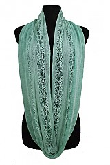 Lace And Soft Fabric Infinity Scarves Pastel color