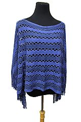 Holed and Striped Tinsel Accent knitted design  with fringe Poncho