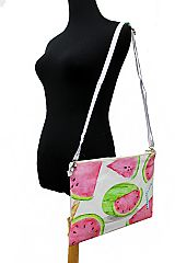 Watermelon and Sea Shell Printed PU Leather Felt Cross Body Bag