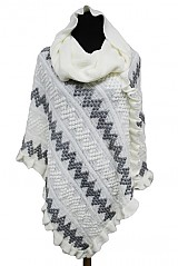 ZIG-ZAG Pattern with Ruffled design Turtle Neck and Hooded Style Poncho