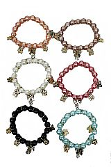 Butterfly and Flower Metal Accented Faux Pearl Beaded Bracelets