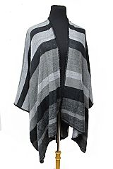 Grey Scale Color Tone Wide Stripped All Over Print Open Poncho