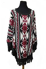 Tribal Geometric Shapes Boho Fringed Softness Poncho