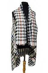 Multi Toned Modern Stripe Plaid Extra Blanket Soft Cardigan Style