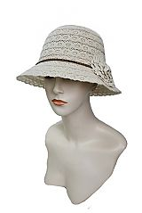 Scallop Trim Full Floral Laced Bucket Hat With Leather Braid Brand