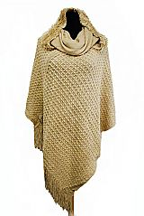 Turtle Neck and Hooded Design with Fur Style Accent Double Layer Poncho