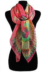 Radiant Peacock Flower Feather Wrap Scarves