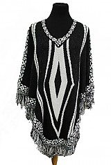 Double Rhombus Pattern Thick Knitted Poncho