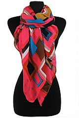 Color Full Square Patter Soft Wrap Scarves.