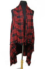 Single Line Classic Checker Plaid Print Softness Cardigan Vest
