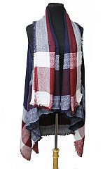 Over Size Single Line Classic Block Checkered Plaid Print Softness Cardigan Vest