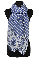 Striped and Flower design Softness Scarf