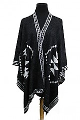 Aztec Pattern Thick Knitted Poncho