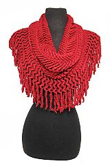 Chunky Fringed Chevron Knit Pattern Extra Soft Infinity Scarves