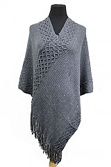 Knitted Double Layer Sequenced Design With Fringe Poncho