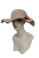 Wave Brim Strong Toyo Straw with Faux Pearl Fancy Bow Design Sun Hat
