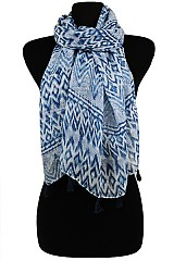 Tribal Color full Soft Wrap Scarves with Tassel Accents