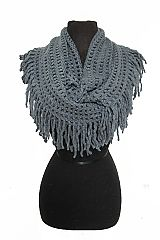 Honey Com Knit Weave Chunky Fringed Infinity Softness Scarves