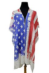 Tie Dyed Wash American Flag Light Weight Kimono