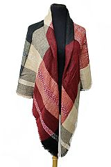 White Stitching Detail Multi color Block Plaid Print Fashion Over Sized Blanket Scarves