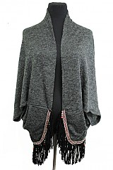 Wool Feel Marled Cardigan with Leatherette Fringe Native Colorful Bead Accent Style Poncho