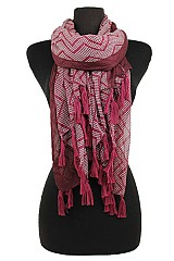 Polka Dot and Missoni Pattern with Hand-Made Fringe Accent Super softness Scarf