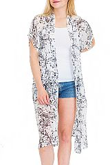 Black and White Cherry Blossom Branches Printed Semi Sheer Cover Up Kimono