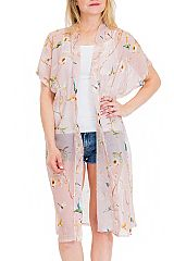 Floral and Bird Printed Semi Sheer Cover Up Kimono