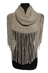 Striped Pattern Super Soft with Long fringe Design Magic Infinity Scarf