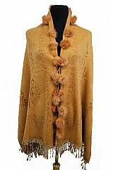 Flower Pattern Shawl and Poncho with Lace Fringe Style Animal Fur Balls