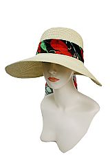 Strong Big Brim Toyo Straw with Rose Flower Chiffon Fabric Bow design Sun Hat
