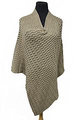 Squiggle Embossed Knit Basic Wear V Cut Poncho