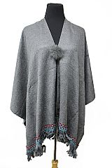 Native Earthy Colorful Hem Cashmere Touch Poncho