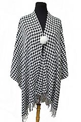 Medium Size Hounds Tooth Printed Thrown Over Poncho