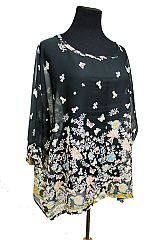 Fashion Batwing Sleeve Chiffon Beach Shirt Cover-Up Butterfly and Floral Design Print