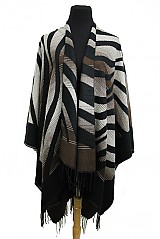 Ombre Dyed Open Poncho With Tiger Stripes Print