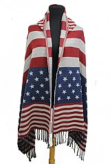American Flag Print Poncho With Long Tassel Fringe