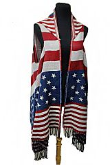 Classic American Flag Hooded Fall Vintage Poncho With Arm Holes and Fringes