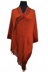 Long Double Layered Fringe Knit Poncho With Metallic Trim
