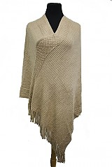 Major Softness Pattern Knit Poncho With Fringe