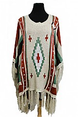 Boho Mid-length Abstract Printed Poncho With Button Closed Off Sleeves