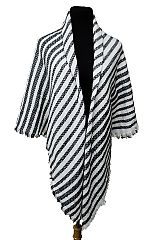Two Tone Diagonally Striped Knit Poncho with Frayed Ends