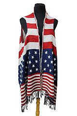 Classic American Flag Fall Vintage Sleeveless Long Vest with Fringes