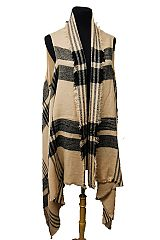 Striped and Plaid Pattern Extra Long Sleeveless Poncho