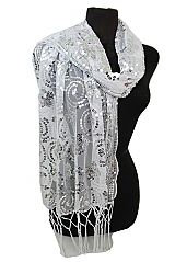 Shiny Sequins Multi Printed Fashion Chiffon Scarf And Wrap